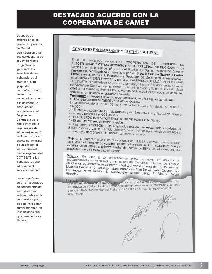 DESTACADO ACUERDO CON LA                               COOPERATIVA DE CAMETDespués demuchos años enque la Cooperativade Ca...