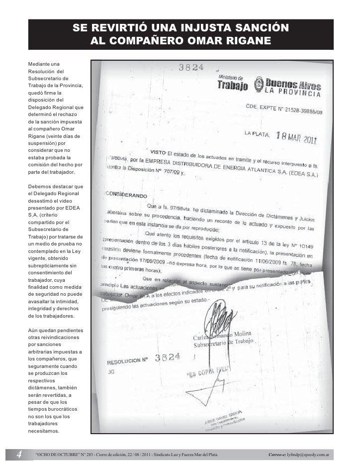 SE REVIRTIÓ UNA INJUSTA SANCIÓN                              AL COMPAÑERO OMAR RIGANE    Mediante una    Resolución del   ...