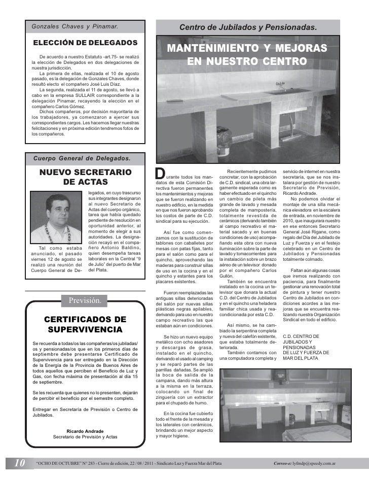 Gonzales Chaves y Pinamar.                                                    Centro de Jubilados y Pensionadas.     ELECC...