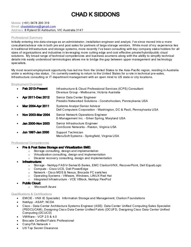 chad k siddons mobile 61 0478 200 319 email chadsiddons - Emc Implementation Engineer Sample Resume