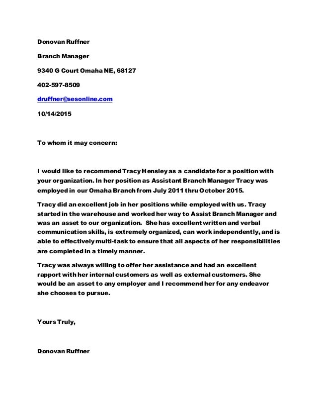 Letter of recommendation branch manager for Cover letter for a warehouse position