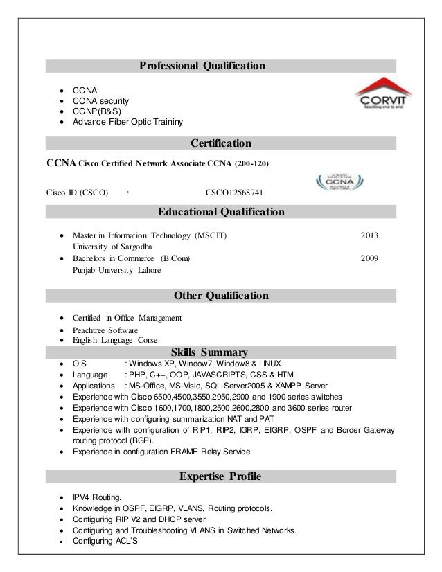ccna cv example contegri - Ccna Resume Sample
