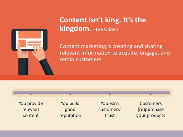 Content marketing is creating and sharing relevant information to acquire, engage, and retain customers. You provide relev...