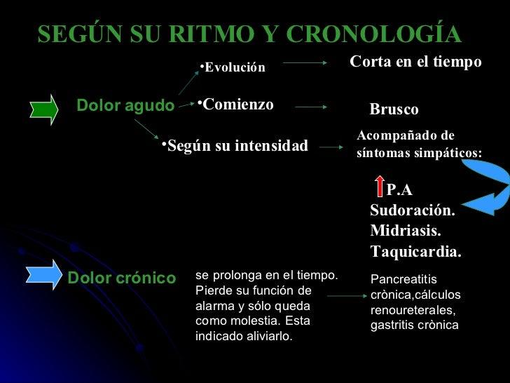 SEGÚN SU RITMO Y CRONOLOGÍA    Dolor agudo   Dolor crónico <ul><li>E volución </li></ul>Corta en el tiempo <ul><li>Co...