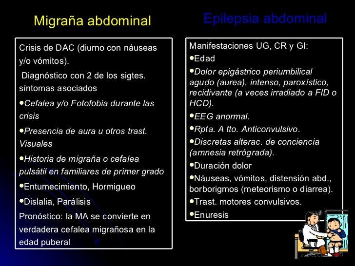 Migraña abdominal Epilepsia abdominal <ul><li>Crisis de DAC (diurno con náuseas y/o vómitos). </li></ul><ul><li>Diagnóstic...