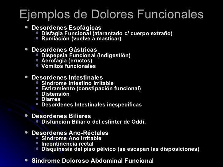 Ejemplos de Dolores Funcionales <ul><ul><li>Desordenes Esofágicas </li></ul></ul><ul><ul><ul><li>Disfagia Funcional (atara...