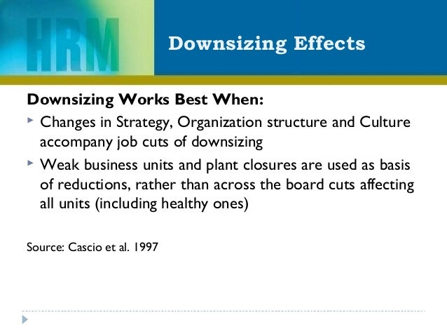 Downsizing Effects Downsizing Works Best When:  Changes in Strategy, Organization structure and Culture accompany job cut...