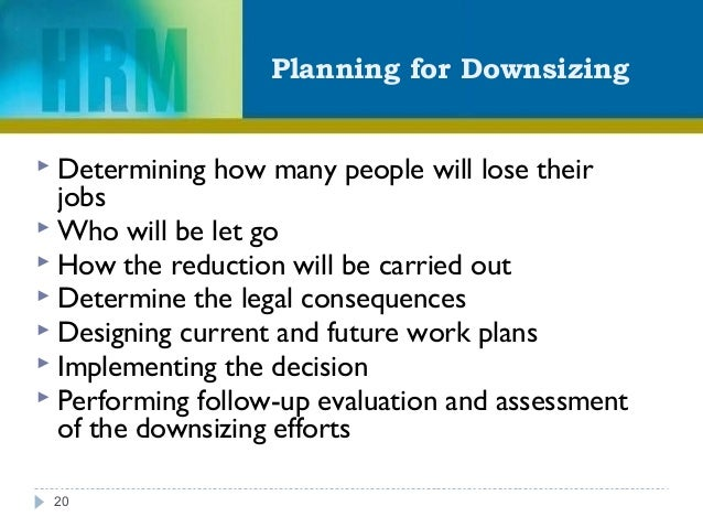 Planning for Downsizing 20  Determining how many people will lose their jobs  Who will be let go  How the reduction wil...
