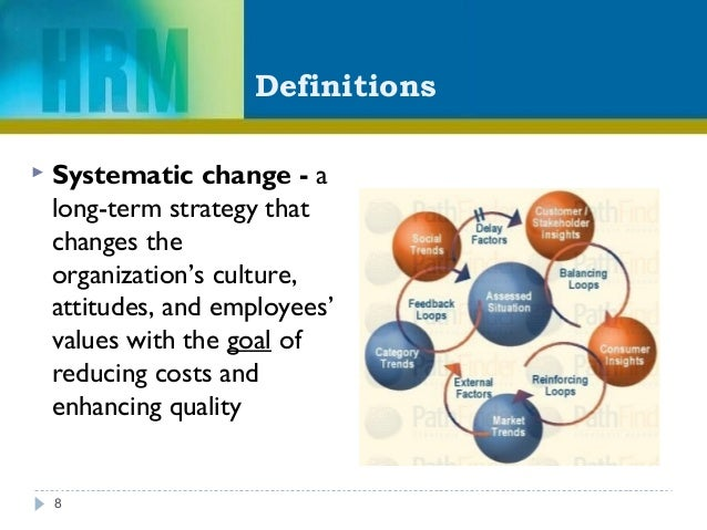 Definitions  Systematic change - a long-term strategy that changes the organization's culture, attitudes, and employees' ...