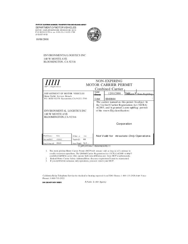 Motor carrier permit california for Chp form 362