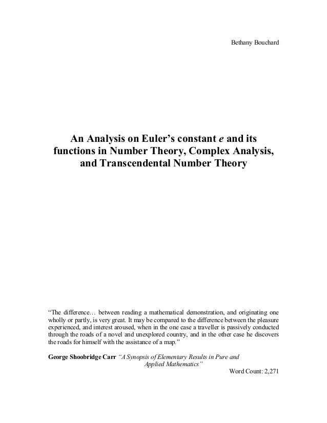 math extended essay math extended essay bethany bouchard an analysis on euler s constant e and its functions in number theory