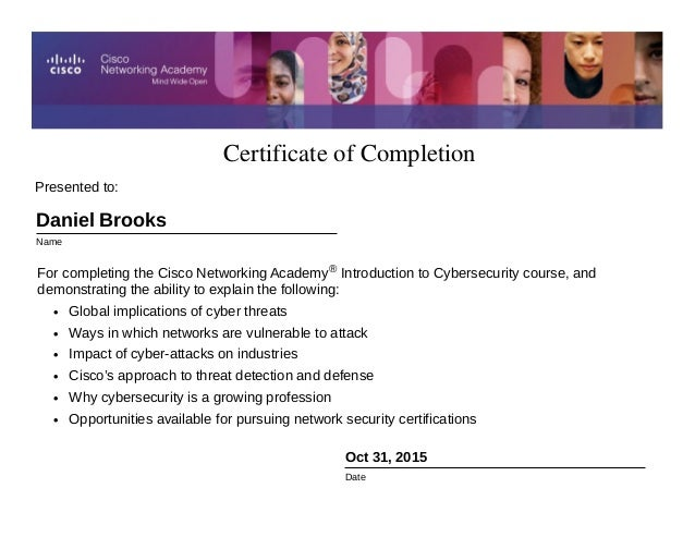 Certificate Of Completion Cisco Intro To Cybersecurity