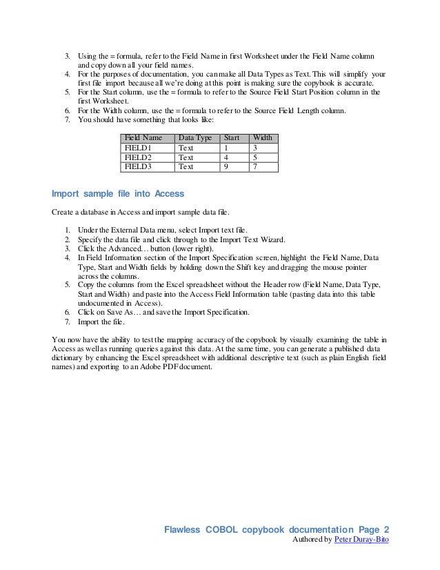 Flawless COBOL copybook documentation