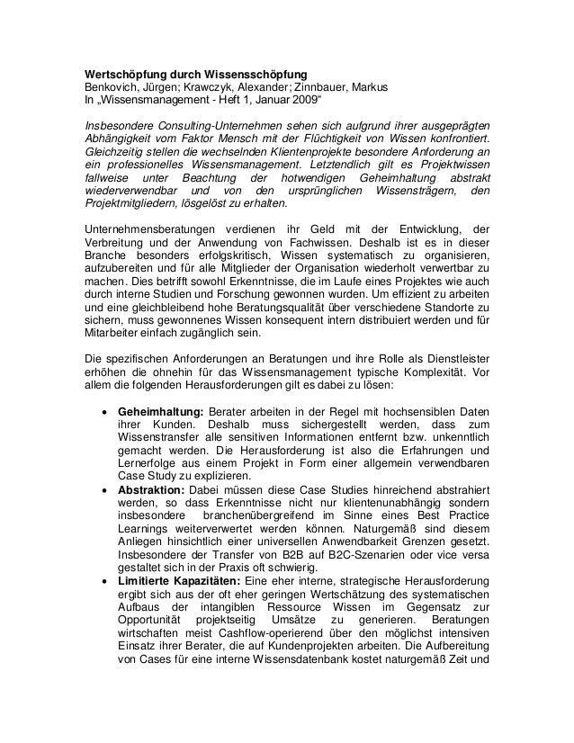 """Wertschöpfung durch Wissensschöpfung Benkovich, Jürgen; Krawczyk, Alexander; Zinnbauer, Markus In """"Wissensmanagement - Hef..."""