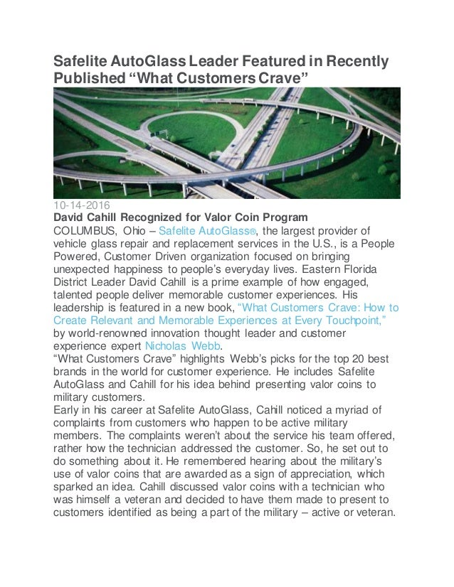 """Safelite AutoGlass Leader Featured in Recently Published """"What Customers Crave"""" 10-14-2016 David Cahill Recognized for Val..."""