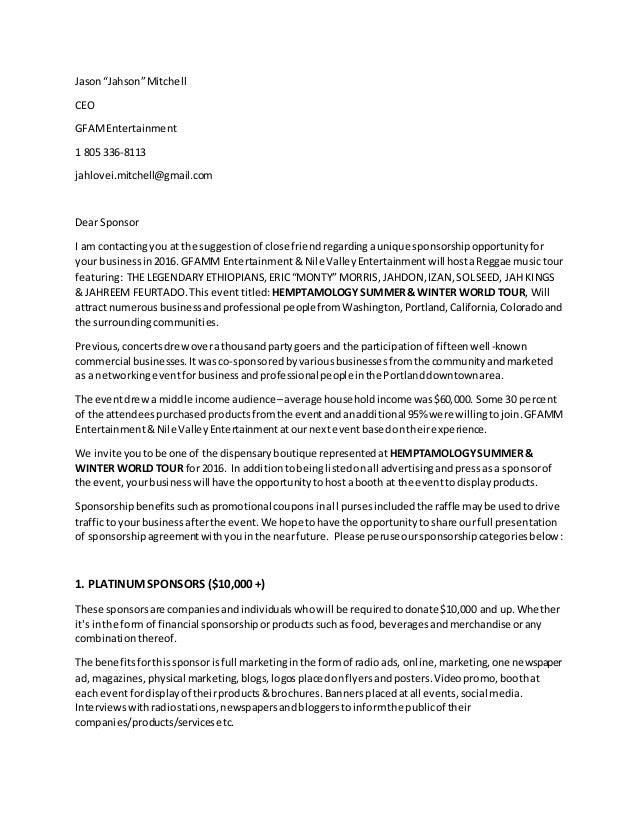 Gfamm Sponsorship Proposal Letter
