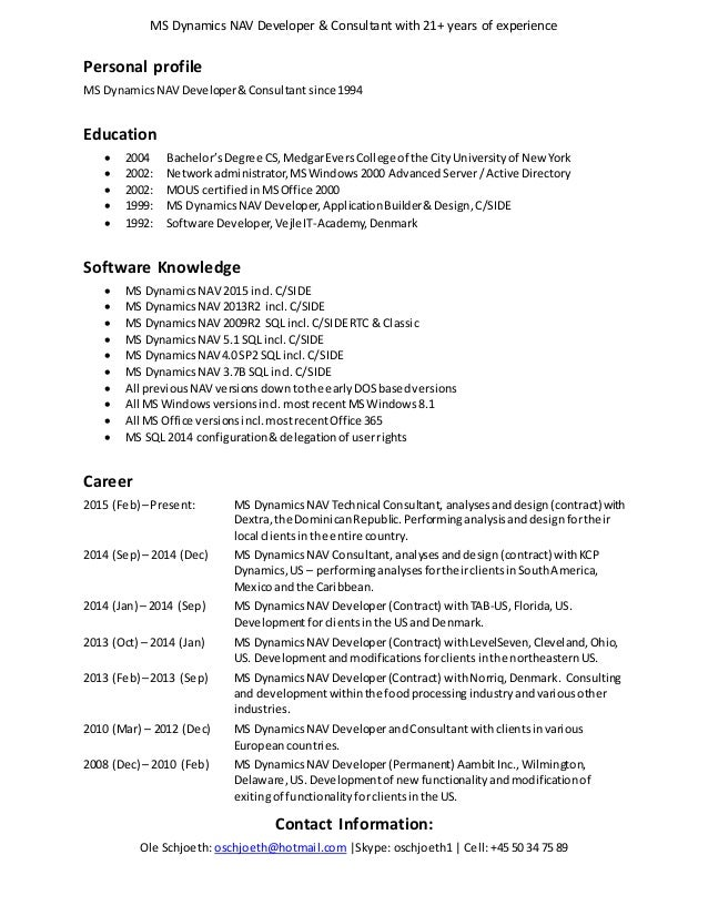ole schjoeth resume english 2016