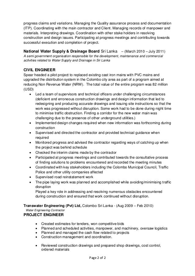 civil engineer construction management resume