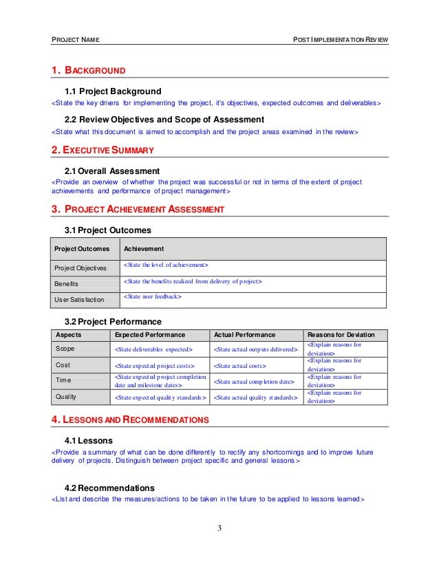 Post Implementation Review Template Kleo Bergdorfbib Co