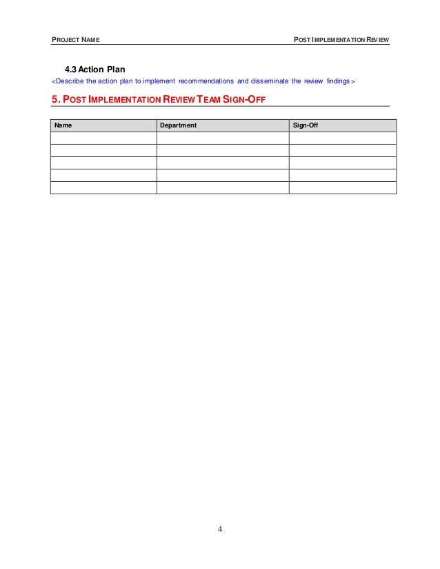 Post Implementation Review Template
