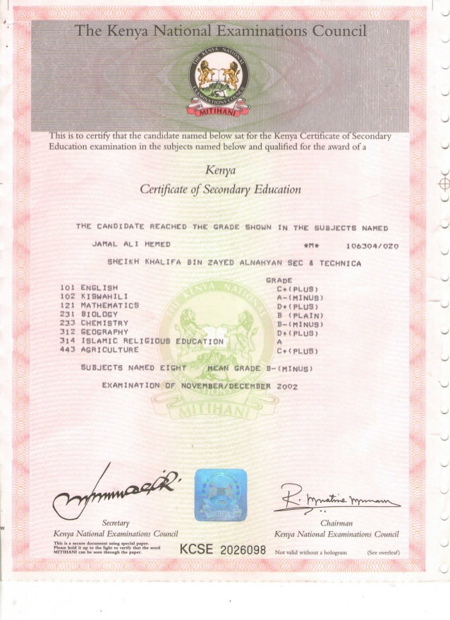 Kcse certificate kcse certificate the kenya national examinations council this is to certify that the candidate named below sat for yelopaper Gallery