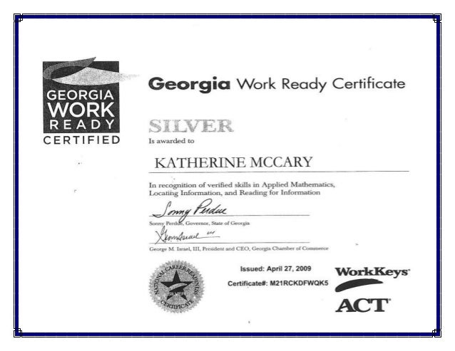 Georgia Work Ready Certification - Katherine A. McCary