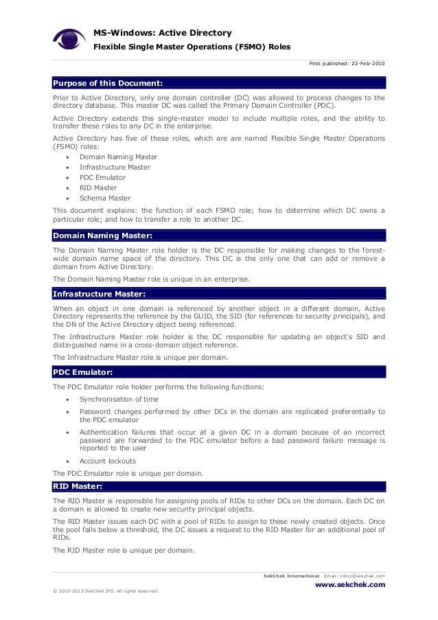 MS-Windows: Active Directory Flexible Single Master Operations (FSMO) Roles First published: 22-Feb-2010 SekChek Internati...