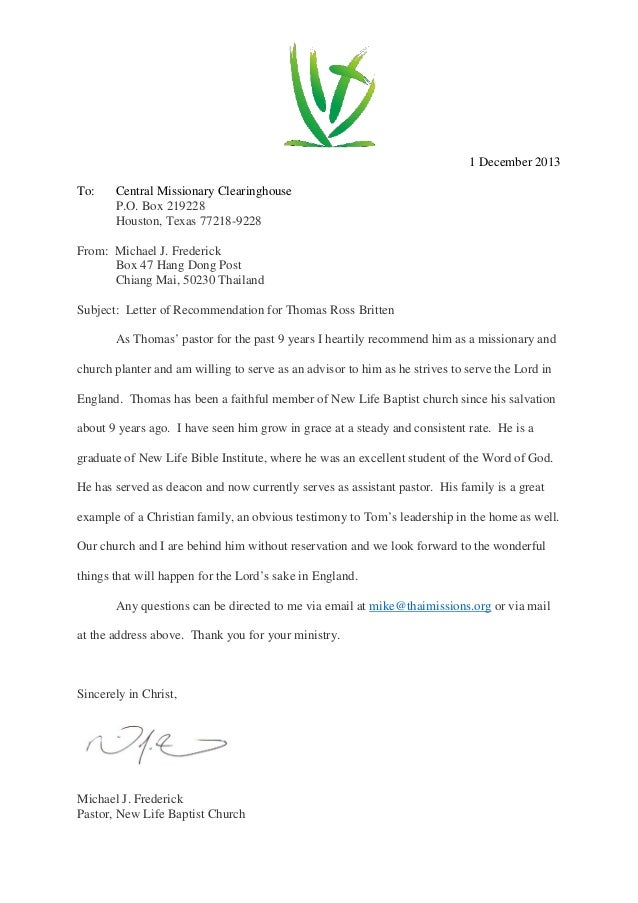 Letter of recommendation 1 letter of recommendation 1 1 december 2013 to central missionary clearinghouse po box 219228 houston texas 77218 spiritdancerdesigns Images
