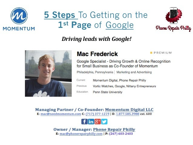DrivingleadswithGoogle! 5 Steps To Getting on the 1st Page of Google
