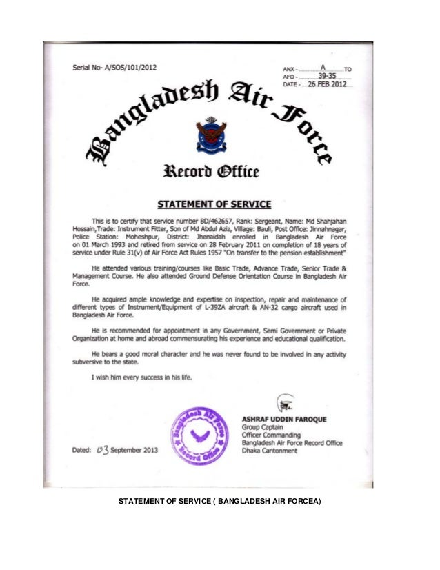 statement of service bangladesh air forcea - Air Force Computer Engineer Sample Resume