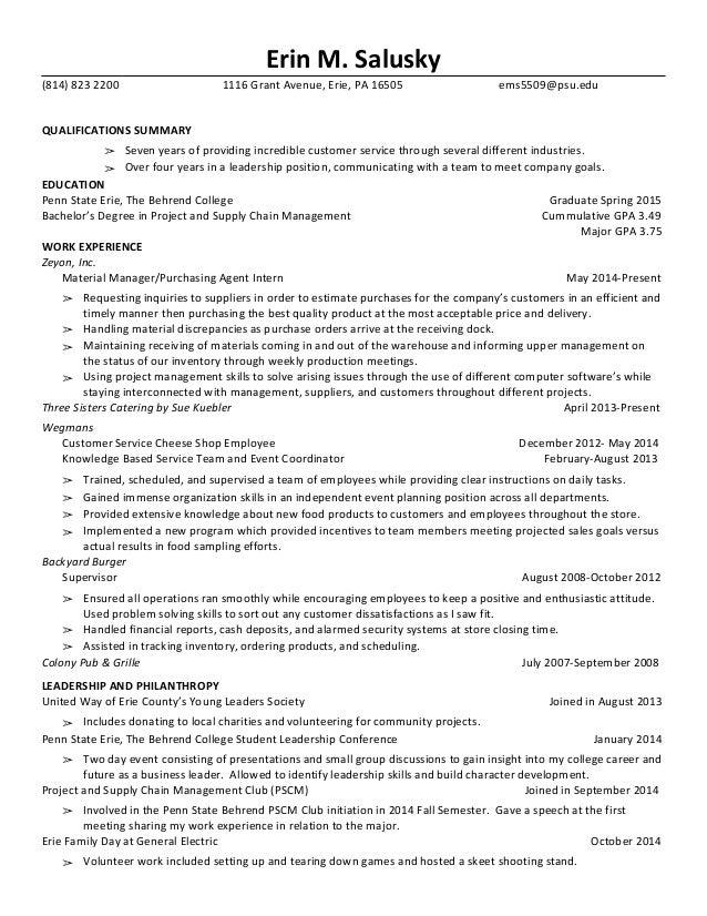college resume major gpa