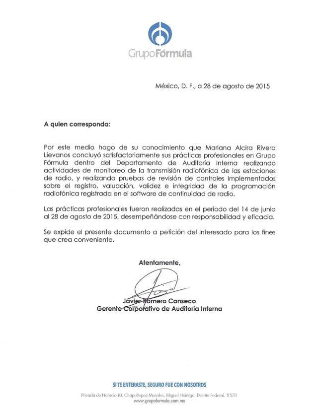 Carta Recomendación Grupo Formula