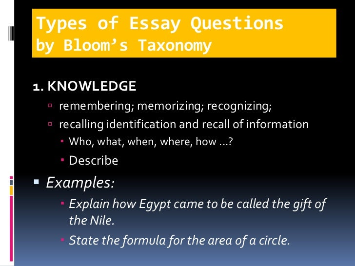 essay test types of essay questionsby