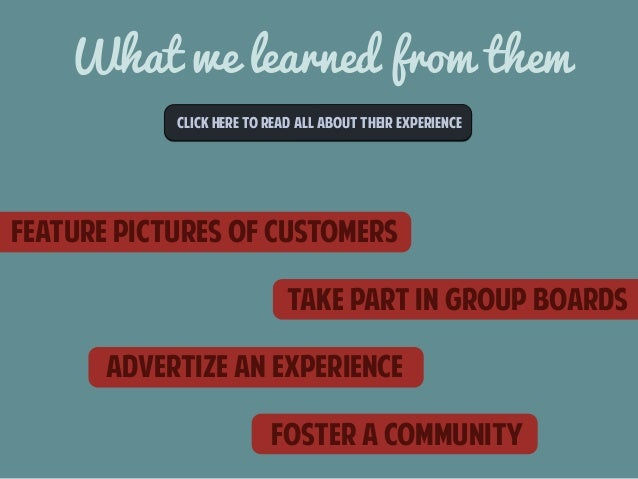What we learned from them  CLICk here to read all about their experience  feature pictures of customers  take part in grou...