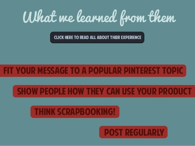 What we learned from them  CLICk here to read all about their experience  FIT YOUR MESSAGE TO A POPULAR PINTEREST TOPIC  S...