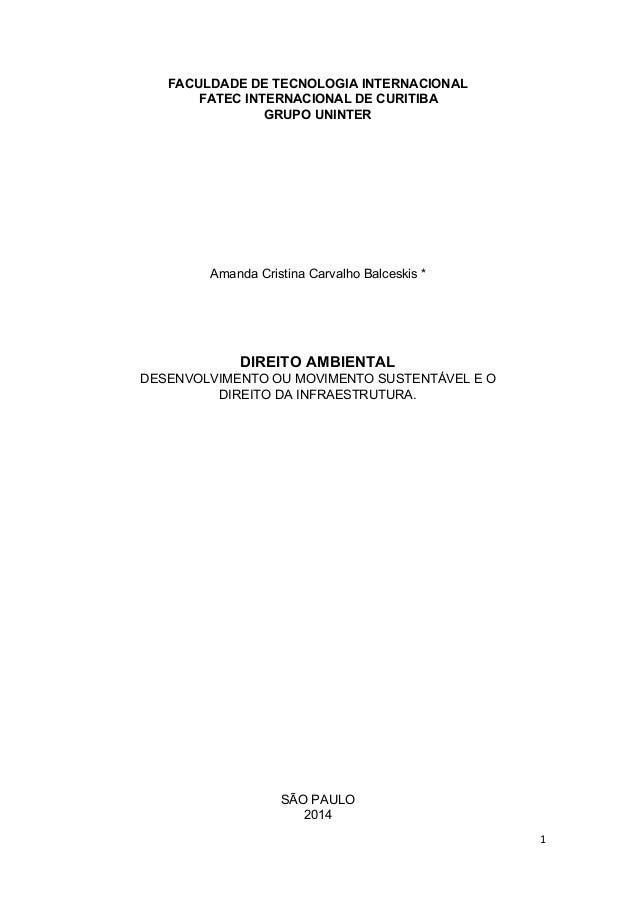 FACULDADE DE TECNOLOGIA INTERNACIONAL  FATEC INTERNACIONAL DE CURITIBA  GRUPO UNINTER  Amanda Cristina Carvalho Balceskis ...