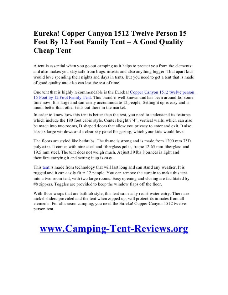 Copper Canyon 1512 Twelve Person 15Foot By 12 Foot Family Tent u2013 A Good  sc 1 st  SlideShare & Eureka! Copper Canyon 1512 Twelve Person 15 Foot By 12 Foot Family Teu2026