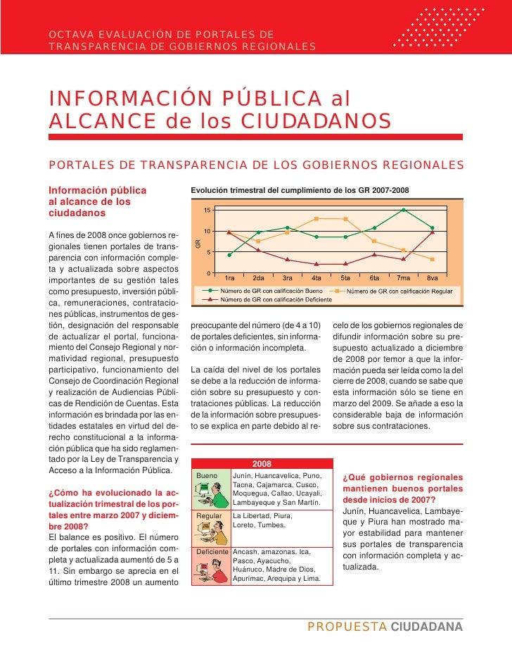 OCTAVA EVALUACIÓN DE PORTALES DE TRANSPARENCIA DE GOBIERNOS REGIONALES     INFORMACIÓN PÚBLICA al ALCANCE de los CIUDADANO...