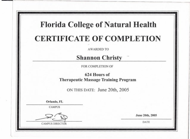 Certificate Of Completion From The Florida College Of