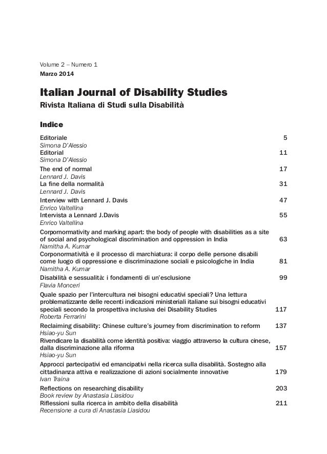 Italian Journal of Disability Studies Rivista Italiana di Studi sulla Disabilità Volume 2 – Numero 1 Marzo 2014 Indice Edi...