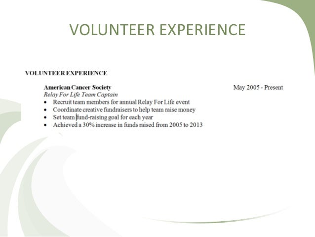 best what to put for volunteer experience on a resume pictures