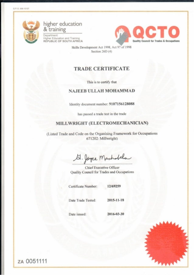 Trade Certificate Red Seal