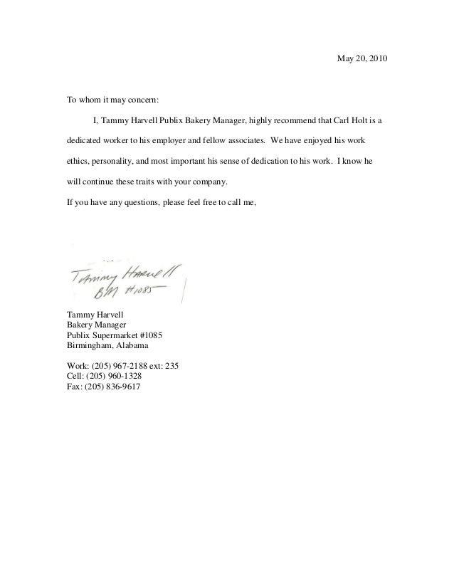 publix letter of recommendation