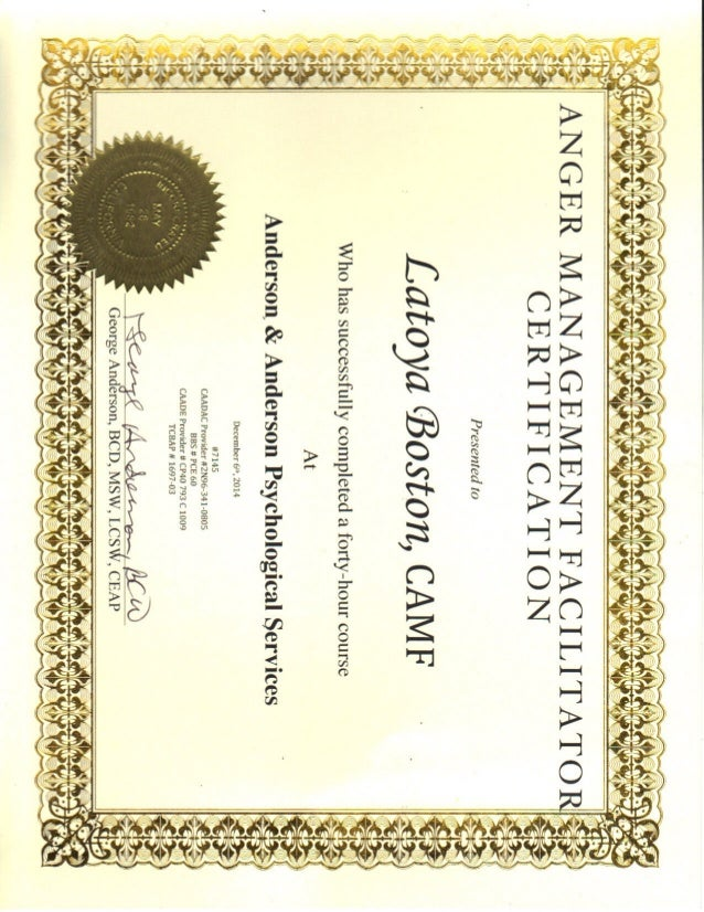 graphic regarding Printable Anger Management Certificate titled Anger Handle Certification.PDF