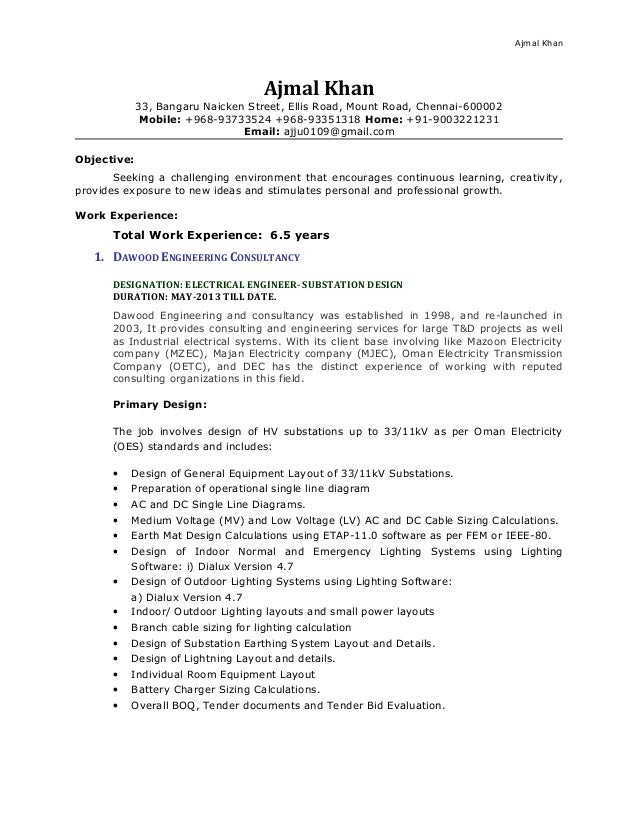 Colorful Substation Engineering Resume Composition - Administrative ...