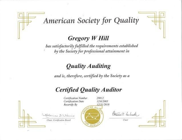 ASQ CQA Certification Gregory Hill