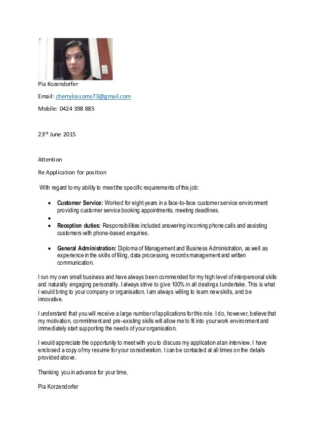 Cover Letter. Pia Kozendorfer Email: Cherrylossoms73@gmail.com Mobile: 0424  398 885 23rd June