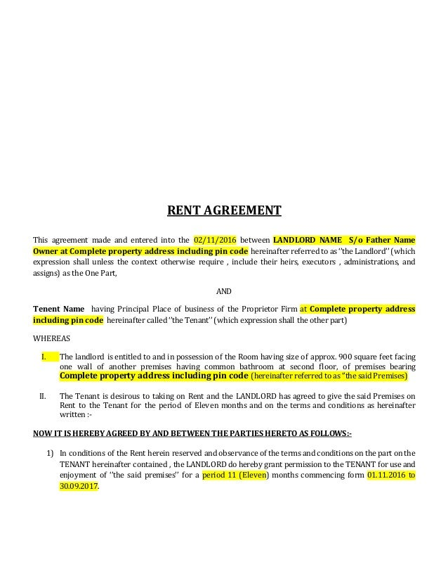 RENT AGREEMENT This Agreement Made And Entered Into The 02/11/2016 Between  LANDLORD ...  Agreement Format