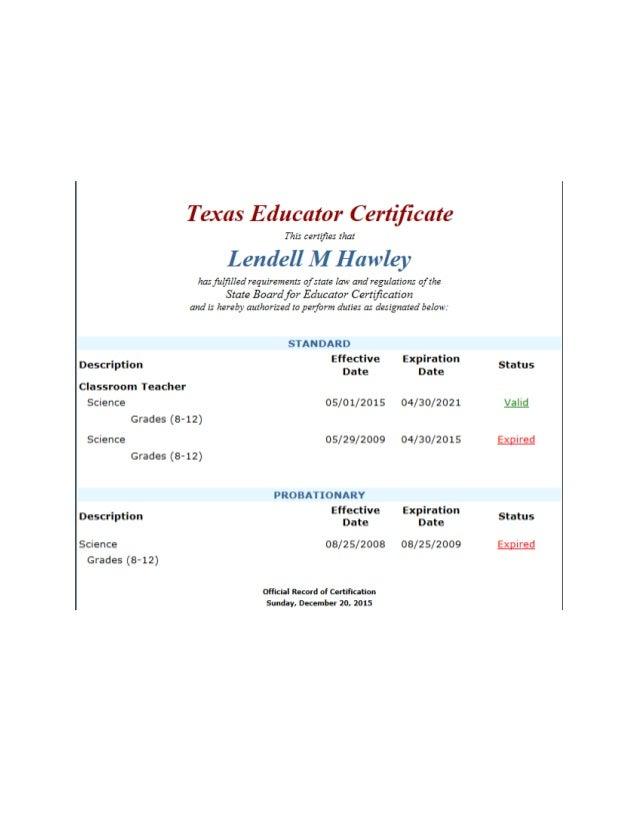 Texas State Teachers Certification 2015 2021