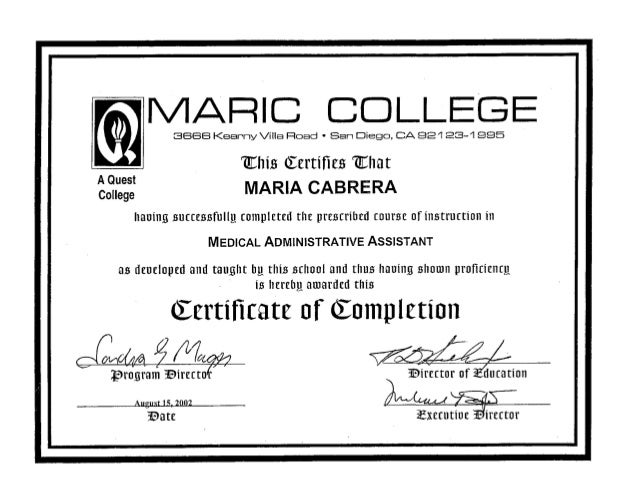certificate medical administrative assistant